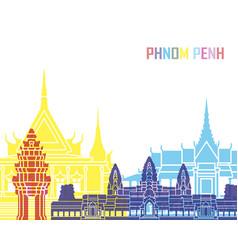 phnom penh skyline pop vector image vector image