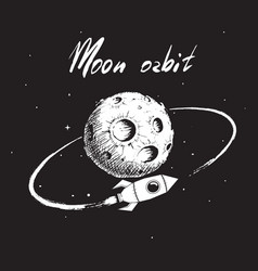 rocket flying around moon orbit vector image vector image