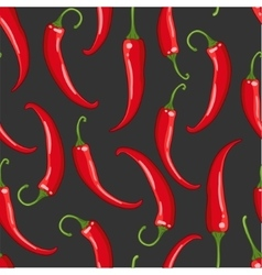seamless pattern on dark with chilli pepper vector image