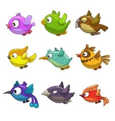 Set of funny cartoon birds vector