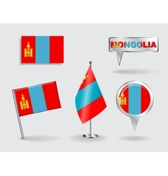 Set of Mongolian pin icon and map pointer flags vector image