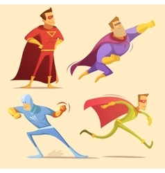 Superhero cartoon set vector