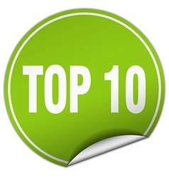 Top 10 round green sticker isolated on white vector