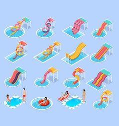 Water park aquapark isometric icon set vector