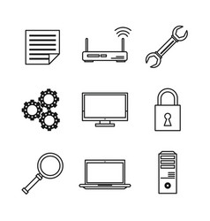 White background with monochrome icons of data vector