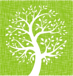 White tree icon on green canvas texture vector