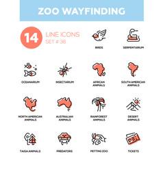 zoo wayfinding - modern single line icons vector image vector image