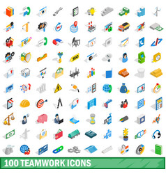 100 teamwork icons set isometric 3d style vector