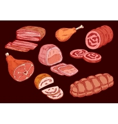Meat food set  butcher shop elements vector