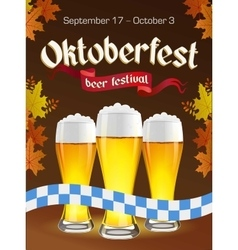 Oktoberfest vintage poster with beer and autumn vector
