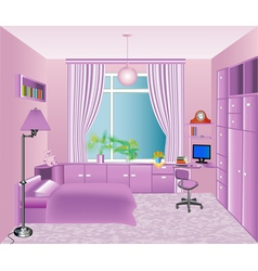 Interior childrens room in pink vector