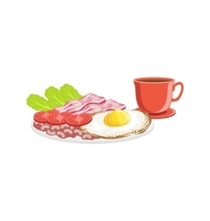 Fried egg bacon and coffee breakfast food drink vector
