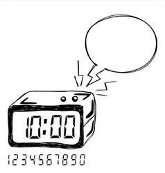 Digital clock bubble speech vector