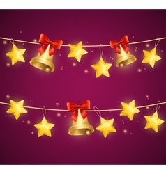 Christmas background with star and bells vector