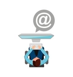man working computer mail media design vector image
