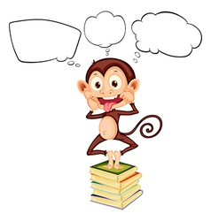 A monkey above the pile of books with empty vector