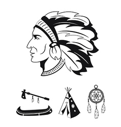 Indian icons set vector