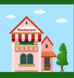Cafe front view vector