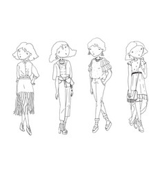 fashion girls set hand drawn creative vector image