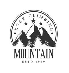 Mountain rock climbing logo mountain tourism vector