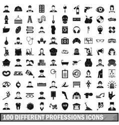 100 different professions icons set simple style vector