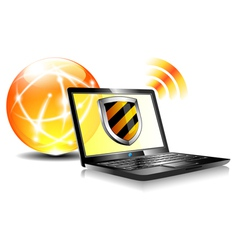 Internet ball and laptop protection shield vector