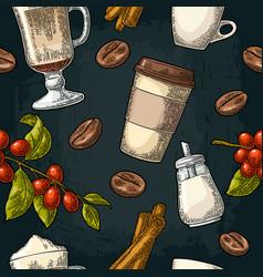 Seamless pattern glass latte sugar beans branch vector