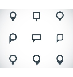 Black map pointer icons set vector