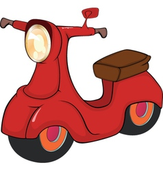Red motor scooter cartoon vector