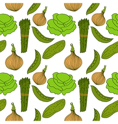 Seamless background with different vegetables vector
