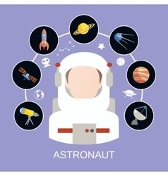 Astronaut and space icons vector