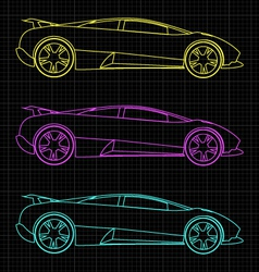 Line drawing of car vector