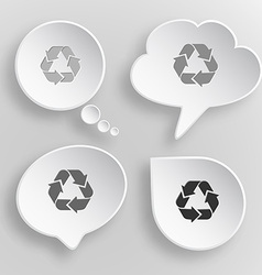 Recycle symbol white flat buttons on gray vector