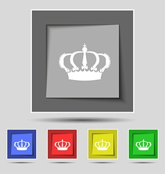 Crown icon sign on original five colored buttons vector