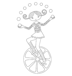 Line art of circus theme - teenage vector