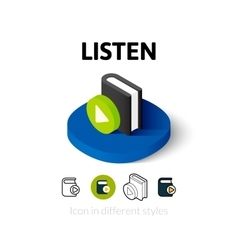 Listen icon in different style vector