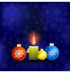 Candle and colorful glass balls vector