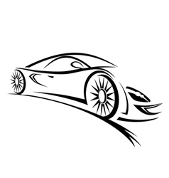 Racing car sketch lines vector