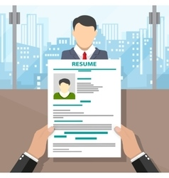 Recruiters hands holding cv and candidate i vector