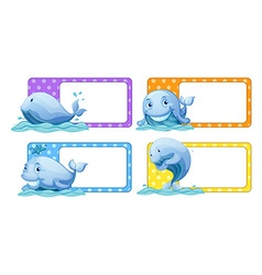 Polka dot stickers with whales vector