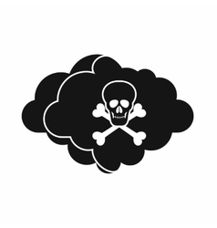 Cloud with skull and bones icon simple style vector