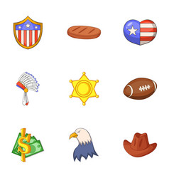 American dream icons set cartoon style vector