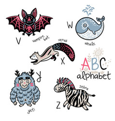 animals alphabet v - z for children vector image