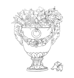Antique flowerpot vector