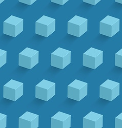 Blue cube seamless pattern vector image