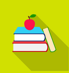 Books icon flat single education icon from the vector