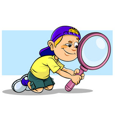 boy holding a magnifier vector image vector image