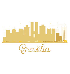Brasilia city skyline golden silhouette vector