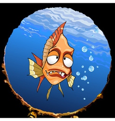 cartoon funny toothy fish under the water looking vector image