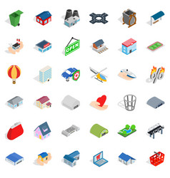 City factory icons set isometric style vector
